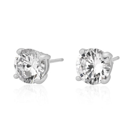 EZBR-080 Round Brilliant Cut Basket Setting CZ Stud Earrings 8mm | Teeda