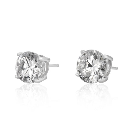 EZBR-090 Round Brilliant Cut Basket Setting CZ Stud Earrings 9mm | Teeda