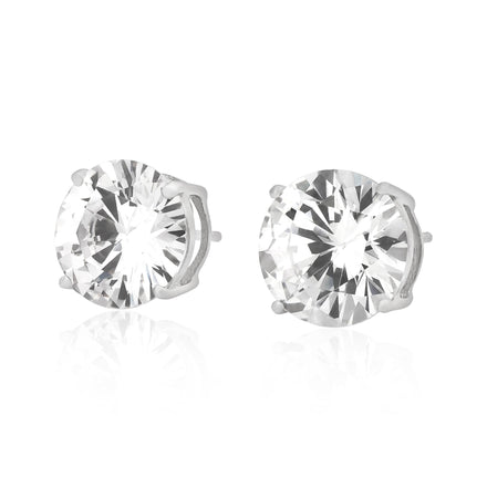 EZBR-100 Round Brilliant Cut Basket Setting CZ Stud Earrings 10mm | Teeda