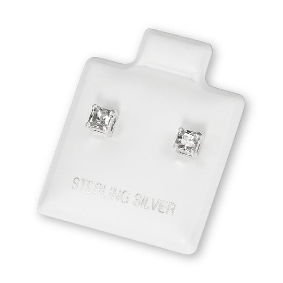 EZBS-030 Square Princess Cut Basket Setting CZ Stud Earrings 3mm