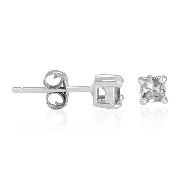 EZBS-030 Square Princess Cut Basket Setting CZ Stud Earrings 3mm | Teeda