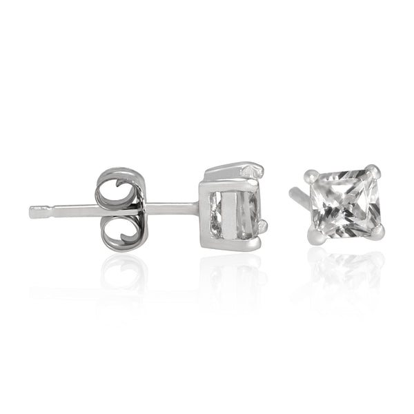 EZBS-040 Square Princess Cut Basket Setting CZ Stud Earrings 4mm