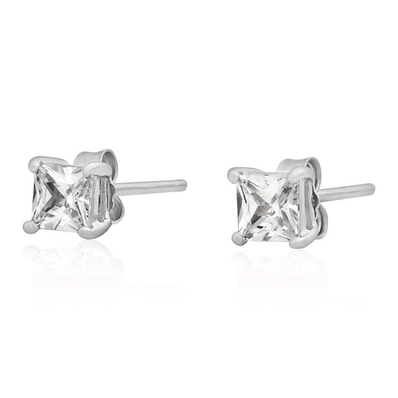 EZBS-040 Square Princess Cut Basket Setting CZ Stud Earrings 4mm | Teeda
