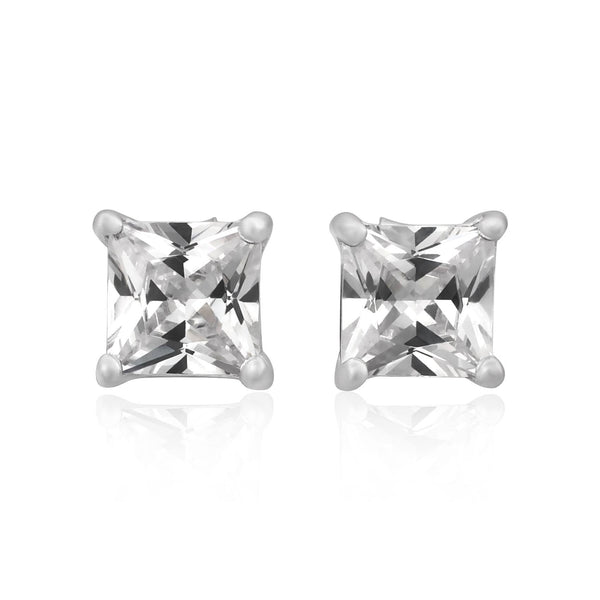 EZBS-050 Square Princess Cut Basket Setting CZ Stud Earrings 5mm