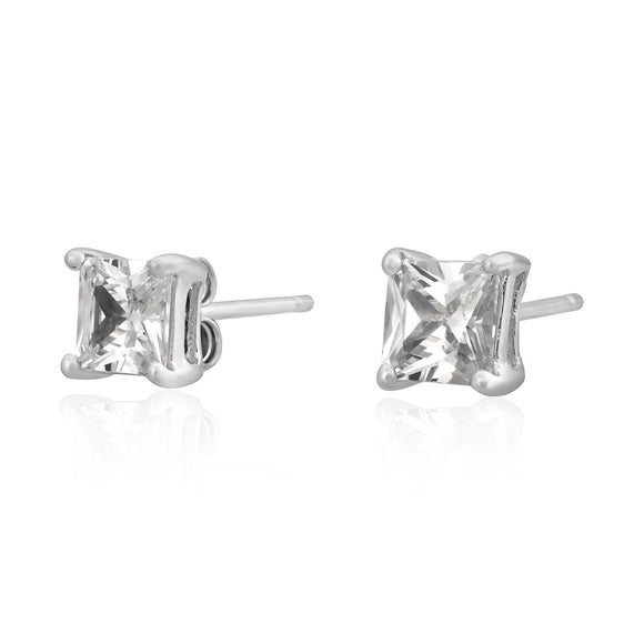 EZBS-050 Square Princess Cut Basket Setting CZ Stud Earrings 5mm | Teeda