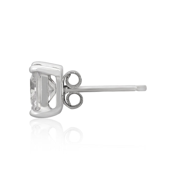 EZBS-060 Square Princess Cut Basket Setting CZ Stud Earrings 6mm