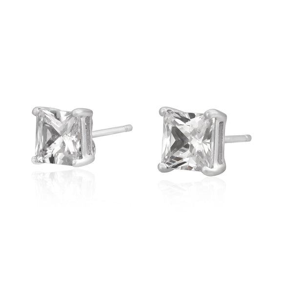 EZBS-060 Square Princess Cut Basket Setting CZ Stud Earrings 6mm | Teeda