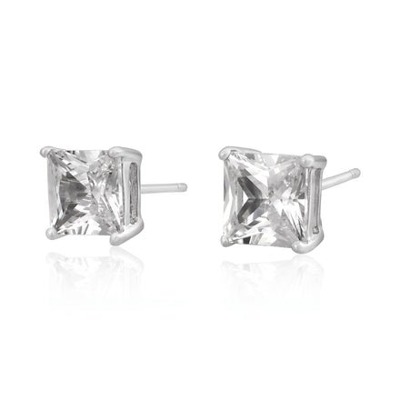 EZBS-070 Square Princess Cut Basket Setting CZ Stud Earrings 7mm | Teeda