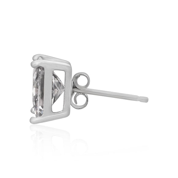 EZBS-080 Square Princess Cut Basket Setting CZ Stud Earrings 8mm