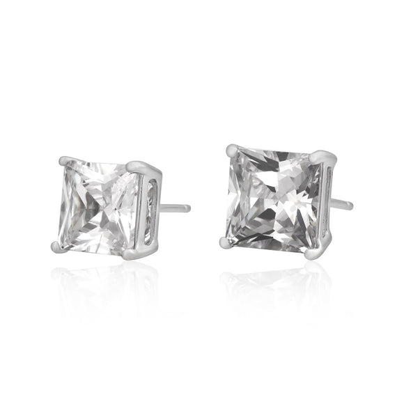 EZBS-080 Square Princess Cut Basket Setting CZ Stud Earrings 8mm | Teeda