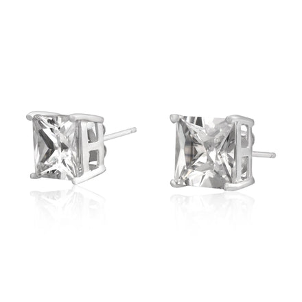 EZBS-090 Square Princess Cut Basket Setting CZ Stud Earrings 9mm | Teeda