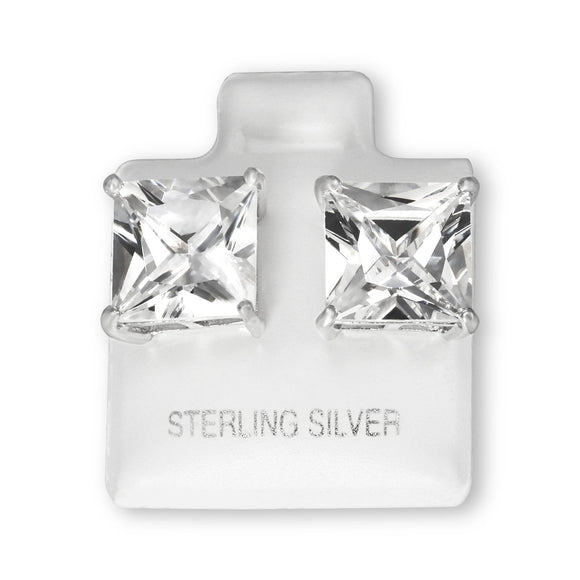 EZBS-100 Square Princess Cut Basket Setting CZ Stud Earrings 10mm