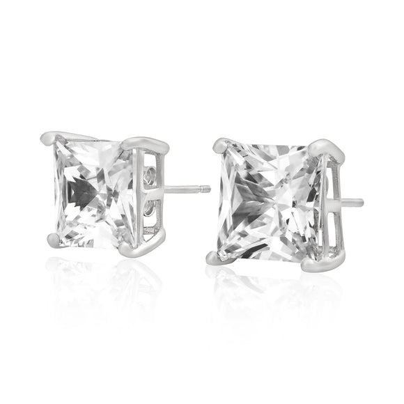 EZBS-100 Square Princess Cut Basket Setting CZ Stud Earrings 10mm | Teeda