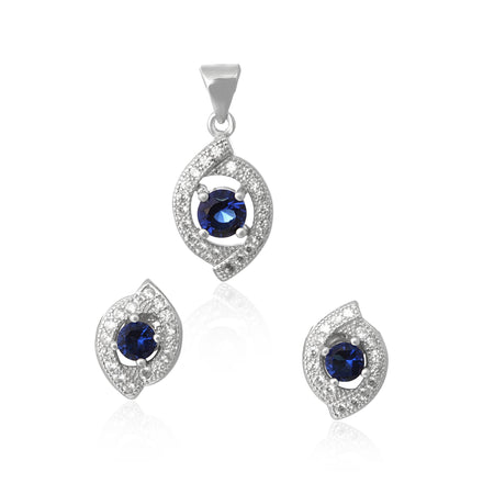 MAZ-1000-BS Micropave Cubic Zirconia Earring and Pendant Set - Blue Sapphire | Teeda