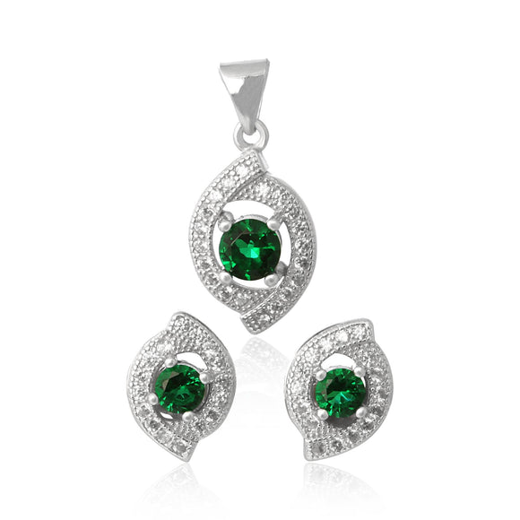 MAZ-1000-E Micropave Cubic Zirconia Earring and Pendant Set - Emerald | Teeda