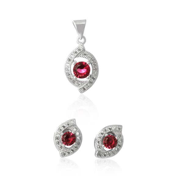MAZ-1000-SR Micropave Cubic Zirconia Earring and Pendant Set - Ruby | Teeda