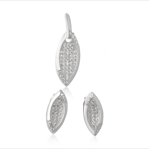 MAZ-1004 Heart Micropavé CZ Earring and Pendant Set | Teeda