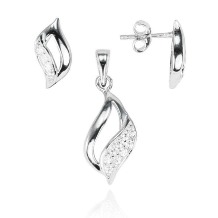 MAZ-8002 Contemporary Leaf Matching CZ Pendant and Earring Set | Teeda