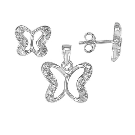 MAZ-8007 Butterfly Matching CZ Pendant and Earring Set | Teeda
