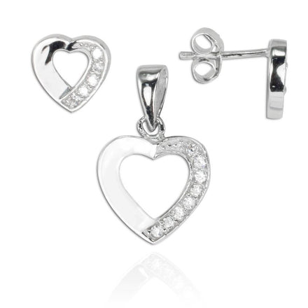 MAZ-8060 Open Heart Matching CZ Pendant and Earring Set | Teeda