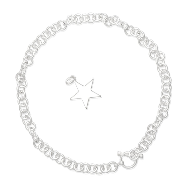 N-002-S Med Round Link Charm Necklace - Star | Teeda