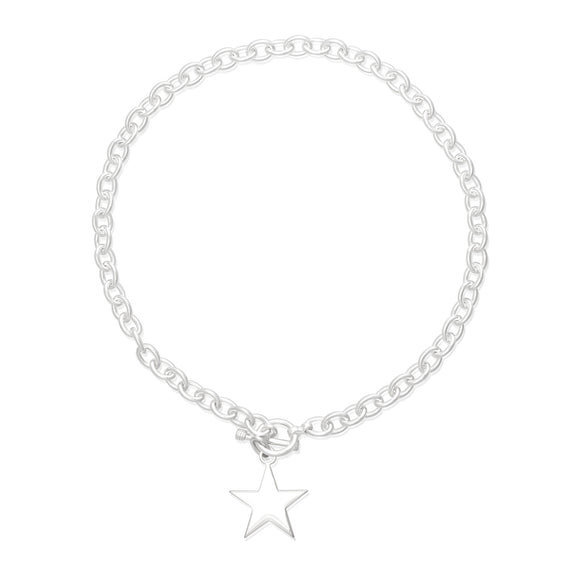 N-003-S Med Oval Link Charm Necklace - Star | Teeda