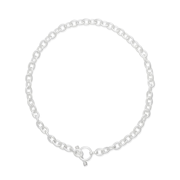 N-003-X Med Oval Link Charm Necklace - No Charm | Teeda