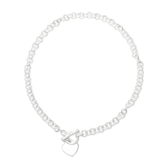 N-004-H Sm Round Link Charm Necklace - Heart | Teeda