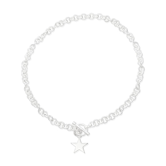 N-004-S Sm Round Link Charm Necklace - Star | Teeda