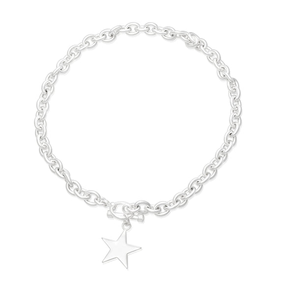 N-005-S Large Oval Link Charm Necklace - Star | Teeda