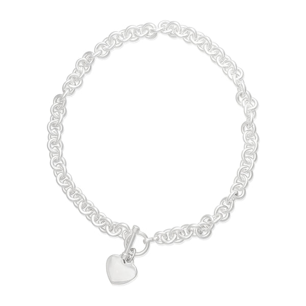 N-006-H Large Round Link Charm Necklace - Heart | Teeda