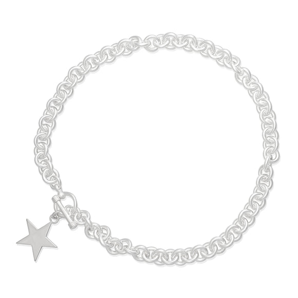 N-006-S Large Round Link Charm Necklace - Star | Teeda