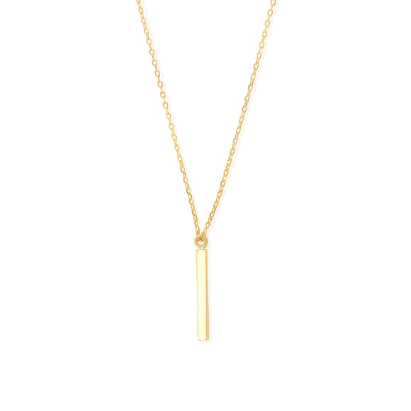N-7002 Square Bar Charm and Necklace Set - Gold Plated | Teeda