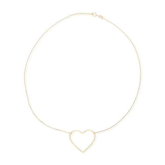 N-7003 Large Open Heart Charm and Necklace Set