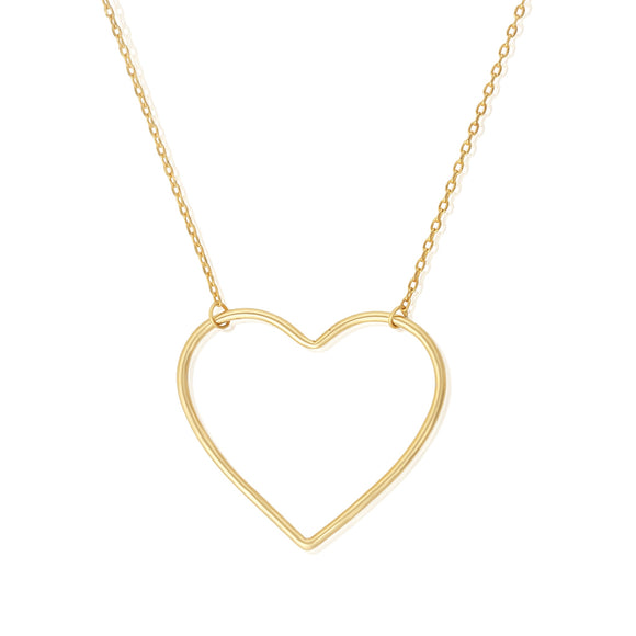 N-7003 Large Open Heart Charm and Necklace Set - Gold Plated | Teeda