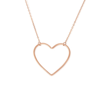 N-7003 Large Open Heart Charm and Necklace Set - Rose Gold Plated | Teeda
