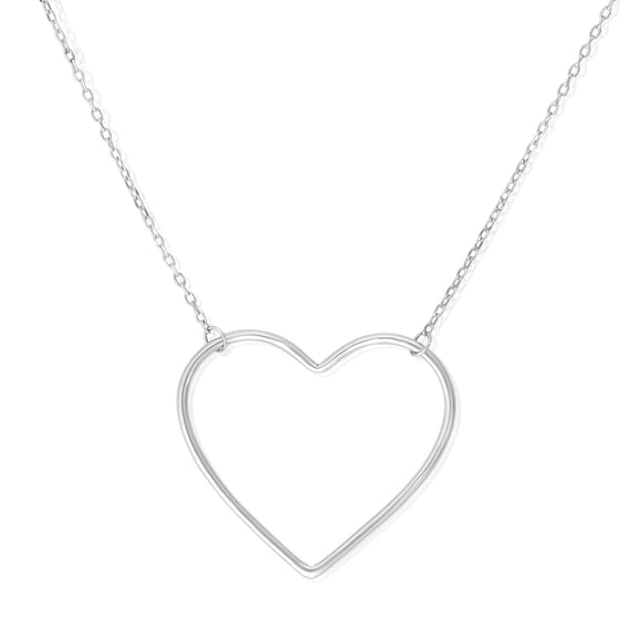 N-7003 Large Open Heart Charm and Necklace Set - Rhodium Plated | Teeda