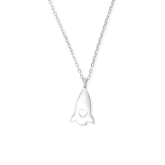 N-7005 Heart Rocket Ship Charm and Necklace Set | Teeda