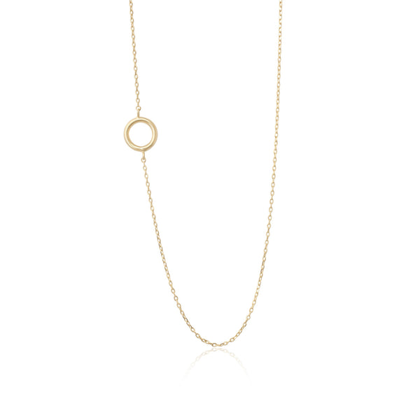 N-7006 Open Circle Charm Necklace - Gold Plated | Teeda