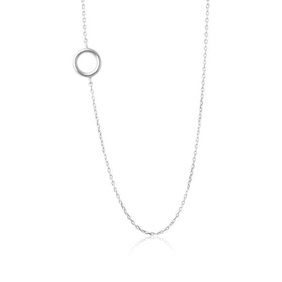 N-7006 Open Circle Charm Necklace - Rhodium Plated | Teeda