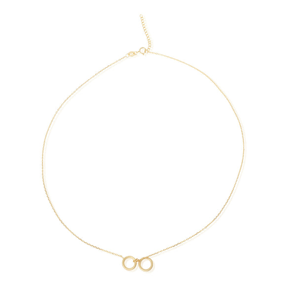 N-7008 Twin Circles Charm Necklace