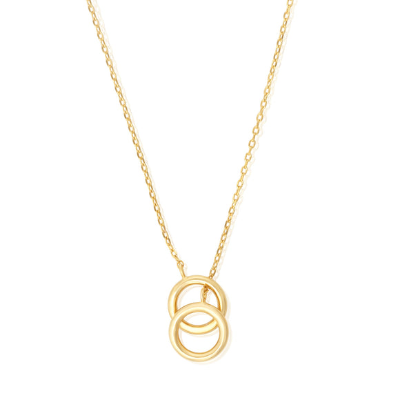 N-7008 Twin Circles Charm Necklace - Gold Plated | Teeda