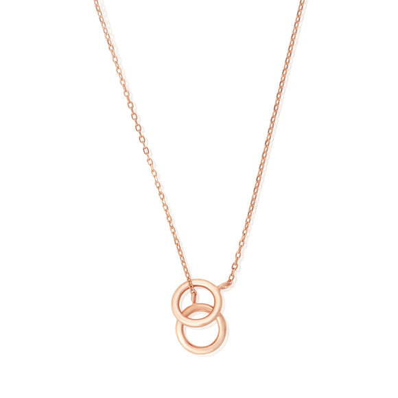 N-7008 Twin Circles Charm Necklace - Rose Gold Plated | Teeda
