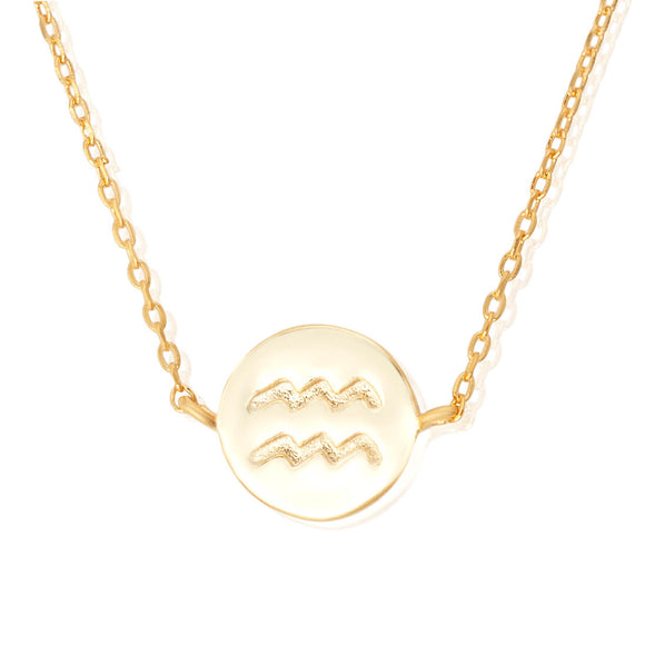 N-7009 Zodiac Symbol Charm and Necklace Set - Gold Plated - Aquarius | Teeda