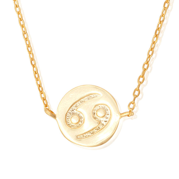 N-7009 Zodiac Symbol Charm and Necklace Set - Gold Plated - Cancer | Teeda