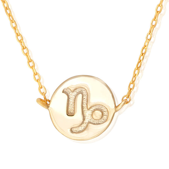 N-7009 Zodiac Symbol Charm and Necklace Set - Gold Plated - Capricorn | Teeda