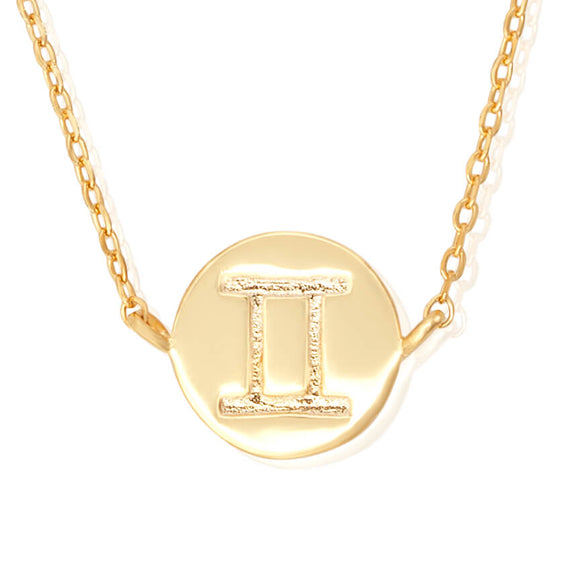N-7009 Zodiac Symbol Charm and Necklace Set - Gold Plated - Gemini | Teeda