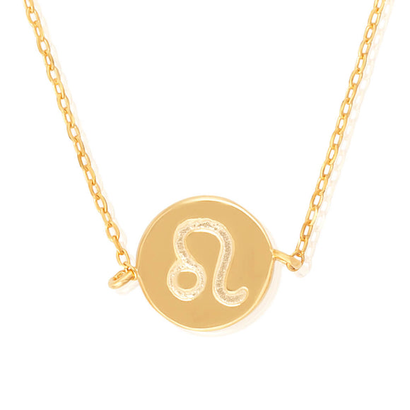 N-7009 Zodiac Symbol Charm and Necklace Set - Gold Plated - Leo | Teeda