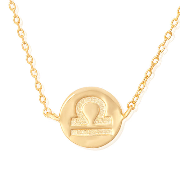 N-7009 Zodiac Symbol Charm and Necklace Set - Gold Plated - Libra | Teeda