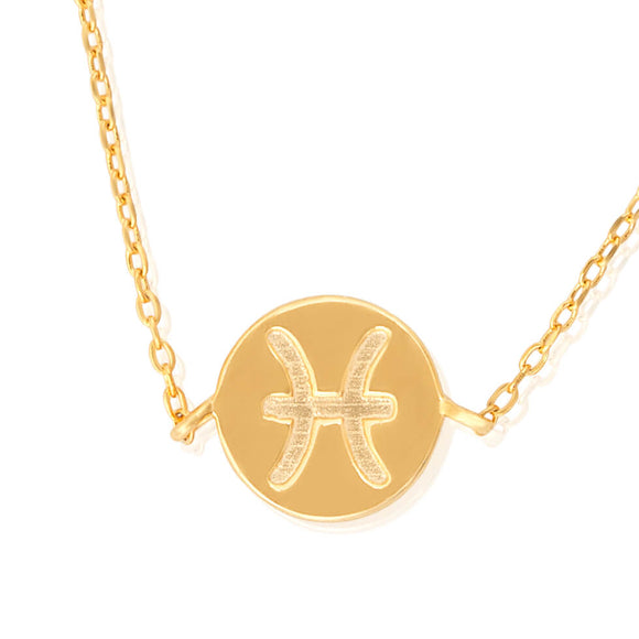 N-7009 Zodiac Symbol Charm and Necklace Set - Gold Plated - Pisces | Teeda